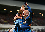 Nicky Law celebrates his goal with Lewis Macleod and Fraser Aird