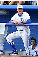 Dunedin Blue Jays pitcher Aaron Sanchez (10) in the dugout during a game against the Fort Myers Miracle on July 20, 2013 at Florida Auto Exchange Stadium in Dunedin, Florida.  Fort Myers defeated Dunedin 3-1.  (Mike Janes/Four Seam Images)
