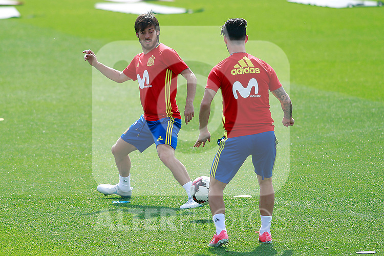 Spain's David Jimenez Silva and Isco Alarcon during training session. June 9,2017.(ALTERPHOTOS/Acero)