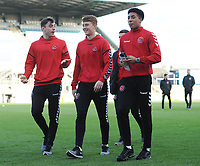 Fleetwood Town's Harrison Holgate, Gerard Garner and James Hill<br /> <br /> Photographer Kevin Barnes/CameraSport<br /> <br /> The EFL Sky Bet League One - Bristol Rovers v Fleetwood Town - Saturday 22nd December 2018 - Memorial Stadium - Bristol<br /> <br /> World Copyright &copy; 2018 CameraSport. All rights reserved. 43 Linden Ave. Countesthorpe. Leicester. England. LE8 5PG - Tel: +44 (0) 116 277 4147 - admin@camerasport.com - www.camerasport.com