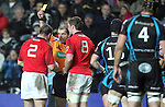 Referee Peter Allan shows Damian Varley the yellow card..RaboDirect Pro12.Ospreys v Munster.Liberty Stadium.03.12.11.©Steve Pope