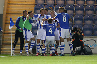 Tom Eastman of Colchester United (18) scores the first goal for his team and celebrates with his team mates during Colchester United vs Yeovil Town, Sky Bet EFL League 2 Football at the JobServe Community Stadium on 2nd October 2018
