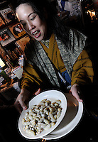 Bee larvae are prepared at a bug eating party in Tokyo, Japan. The bug eating movement is gaining in popularity in Japan where bug eating gourmet cooking parties are sold-out.  The insects are seen as the ultimate challenge in the world's gastronomical capitol but alo seen as an important alternative source of protein for the future and even the Japanese Space Program is looking intot eh use of using insects as food in space travel.