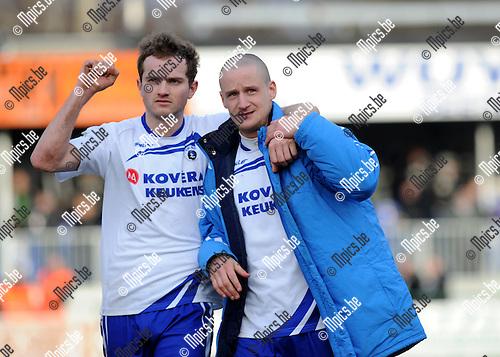 2012-02-26 / Voetbal / seizoen 2011-2012 / KSK Heist - Eupen / KSK Heist is tevreden met het punt tegen Eupen..Foto: Mpics.be
