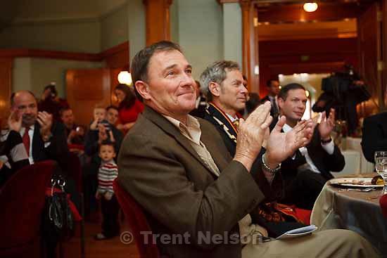 utah governor gary herbert. ralph becker (SLC mayor) Celebration for Real Salt Lake's MLS Cup win Tuesday, November 24 2009.