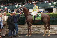 """LEXINGTON, KY - October 8, 2017. #12 Flameaway and Julien Leparoux after winning the 27th running of the Dixiana Bourbon Grade 3 $250,000 """"Win and You're In Breeders' Cup Juvenile Turf Division"""" for owner John Oxley and trainer Mark Casse at Keeneland Race Course.  Lexington, Kentucky. (Photo by Candice Chavez/Eclipse Sportswire/Getty Images)"""