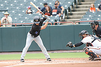 Bowie, MD - May 6, 2018: Akron RubberDucks right fielder Connor Marabell (36) looks a strike during the MiLB game between Akron and Bowie at  Baysox Stadium in Bowie, MD.  (Photo by Elliott Brown/Media Images International)