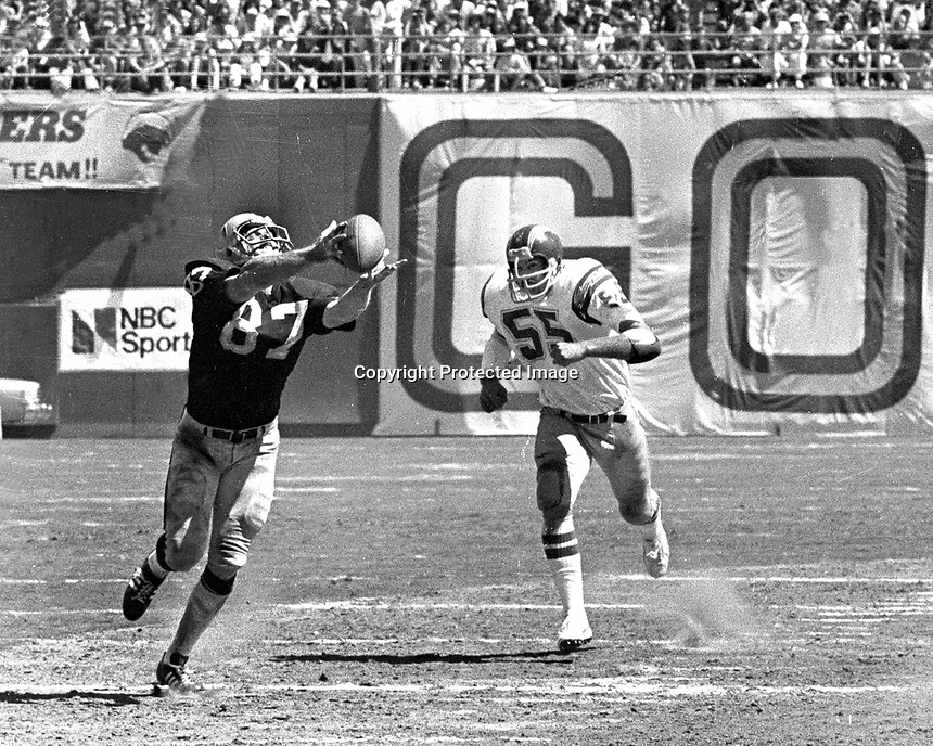 Oakland Raider tight end Dave Casper hauls in pass from Ken Stabler in front of San Diego linebacker <br />for big gain. (1978 photo/Ron Riesterer)