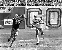 Oakland Raider tight end Dave Casper hauls in pass from Ken Stabler in front of San Diego linebacker <br />