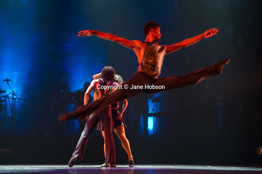 "London, UK. 25/04/2012. ""Ballet Revolucion"" has its UK Premiere at the Peacock Theatre. The company comprises: Jesus Elias Almenares, Dannys Gonzalez Medina, Juan Carlos Hernandez Osma, Ariel Himeliz Mejica, Idania La Villa Palenzuela, Moises Leon Noriega, Danilo Machado Meneses, Yuniet Menses Solis, Yannier Oviedo Rivas, Yasser Pajares Rojas, Barbara Petterson Sanchez, Dayron Perez Falero, Alejandro Perez Fernandez, Lianett Rodriguez Gonzalez, Yasset Roldan Garciarena, Jenny Sosa Martinez, Odeymis Torres Perez, Nadiezhda Valdes Carbonell. Photo credit: Jane Hobson"