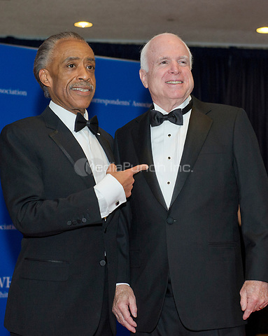 Reverend Al Sharpton, left, and United States Senator John McCain (Republican of Arizona), right, arrive for the 2014 White House Correspondents Association Annual Dinner at the Washington Hilton Hotel on Saturday, May 3, 2014.<br /> Credit: Ron Sachs / CNP<br /> (RESTRICTION: NO New York or New Jersey Newspapers or newspapers within a 75 mile radius of New York City) /MediaPunch