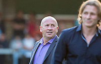 Accrington Stanley Manager John Coleman looks at Wycombe Wanderers Manager Gareth Ainsworth during the Sky Bet League 2 match between Wycombe Wanderers and Accrington Stanley at Adams Park, High Wycombe, England on 16 August 2016. Photo by Kevin Prescod.