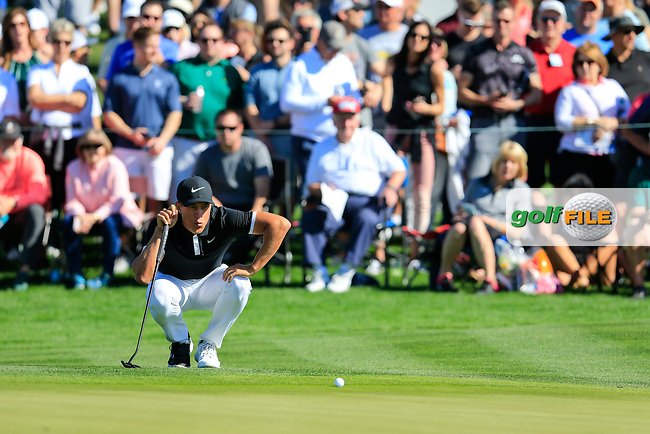 Cameron Champ (USA) on the 2nd green during the 2nd round of the Waste Management Phoenix Open, TPC Scottsdale, Scottsdale, Arisona, USA. 01/02/2019.<br /> Picture Fran Caffrey / Golffile.ie<br /> <br /> All photo usage must carry mandatory copyright credit (&copy; Golffile | Fran Caffrey)