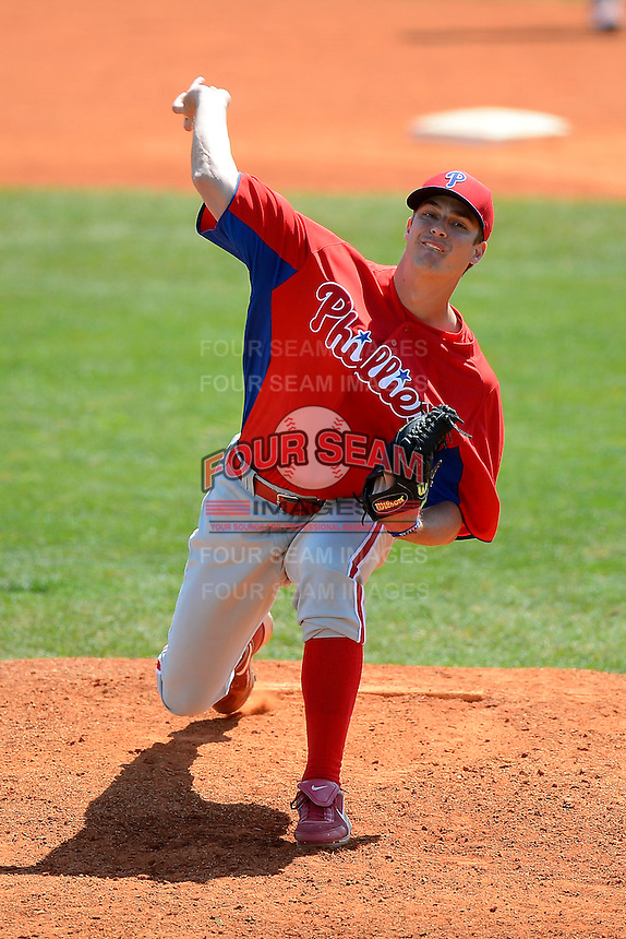 Philadelphia Phillies pitcher Jeb Stefan (78) during a minor league Spring Training game against the Atlanta Braves at Al Lang Field on March 14, 2013 in St. Petersburg, Florida.  (Mike Janes/Four Seam Images)
