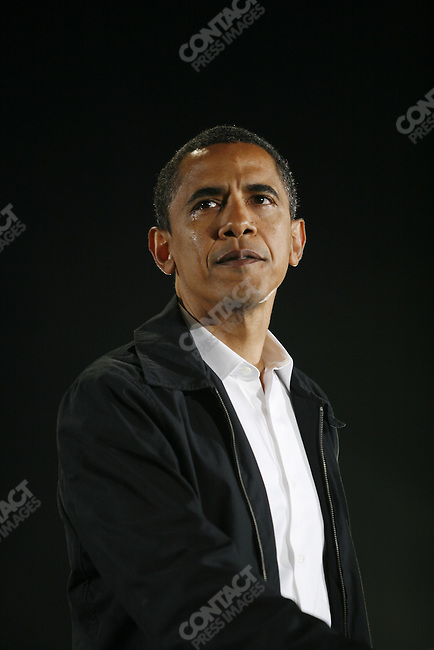 Democratic Presidential candidate Barack Obama during a rally in Charlotte, North Carolina the day before the election, November 3, 2008