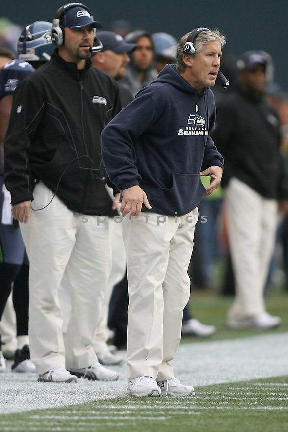 December 05, 2010:  Seattle Seahawks head coach Pete Carroll watches against Carolina. Seattle won 31-14 over Carolina at Quest Field in Seattle, WA.