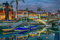 Naples Canal Christmas, Belmont Shore; Long Beach; CA, Luxury; Houses, Lit, Blue Sky, Water Reflections,