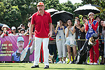 Boris Becker plays tennis at the 10th hole during the World Celebrity Pro-Am 2016 Mission Hills China Golf Tournament on 22 October 2016, in Haikou, China. Photo by Marcio Machado / Power Sport Images