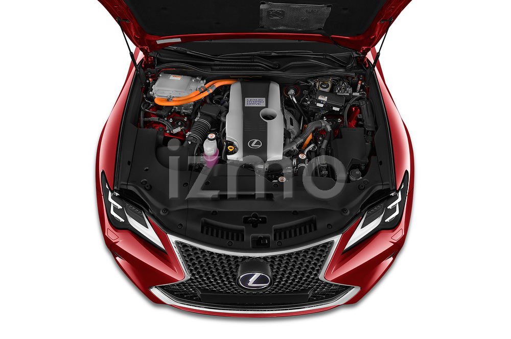 Car Stock 2019 Lexus RC 300h-Privilege-Line 2 Door Coupe Engine  high angle detail view