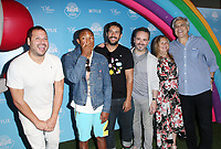 LOS ANGELES, CA - AUGUST 10: Pharrell Williams, Bill Schultz, Frank Falcone, Arturo Sandoval, Samuel Borkson, at the Netflix Series Premiere Of True And The Rainbow Kingdom at the Pacific Theatres at The Grove in Los Angeles, California on August 10, 2017. Credit: Faye Sadou/MediaPunch