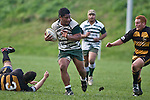 Vilami Pola heads for the tryline after breaking through the Bombay defenders. Counties Manukau Premier Club Rugby game between Bombay & Manurewa played at Bombay on Saturday June 14th 2008..Bombay won 19 - 12 after leading 12 - 0 at halftime.
