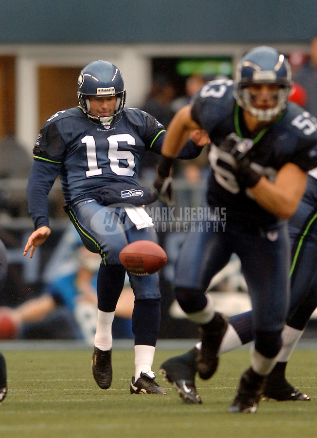 Oct. 23, 2005; Seattle, WA, USA; Punter (16) Tom Rouen of the Seattle Seahawks punts the ball away against the Dallas Cowboys at Qwest Field. Mandatory Credit: Mark J. Rebilas