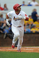 Designated hitter Jose Godoy (25) of the Johnson City Cardinals in a game against the Elizabethton Twins on Sunday, July 27, 2014, at Howard Johnson Field at Cardinal Park in Johnson City, Tennessee. The game was suspended due to weather in the fifth inning. (Tom Priddy/Four Seam Images)
