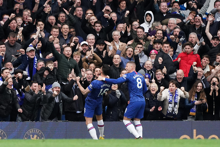 Chelsea fans celebrate Olivier Giroud's goal<br /> <br /> Photographer Stephanie Meek/CameraSport<br /> <br /> The Premier League - Chelsea v Everton - Sunday 8th March 2020 - Stamford Bridge - London<br /> <br /> World Copyright © 2020 CameraSport. All rights reserved. 43 Linden Ave. Countesthorpe. Leicester. England. LE8 5PG - Tel: +44 (0) 116 277 4147 - admin@camerasport.com - www.camerasport.com