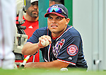 5 September 2011: Washington Nationals catcher Ivan Rodriguez watches action against the Los Angeles Dodgers at Nationals Park in Los Angeles, District of Columbia. The Nationals defeated the Dodgers 7-2 in the first game of their 4-game series. Mandatory Credit: Ed Wolfstein Photo