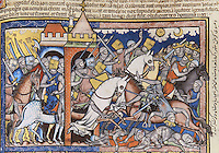 "The Longest Day: Joshua and his army depart to defend the city of Gibeon, now under siege by the Amorite kings. Joshua is twice shown in this illustration; in the center, he rides through a city gate and spears an enemy king. Behind this group he appears again, imperiously commanding the sun and moon to remain motionless in the sky. As daylight is prolonged, the Israelites have ample time to revenge themselves upon their enemies. To the right, the other Amorite kings flee their attackers. (Joshua 10:6ñ13). Excerpt of the first edition of the ""Crusader Bible"", 13th century manuscript kept in the Pierpont Morgan Library in New York, on natural parchment made of animal skin published by Scriptorium SL in Valencia, Spain. © Scriptorium / Manuel Cohen"
