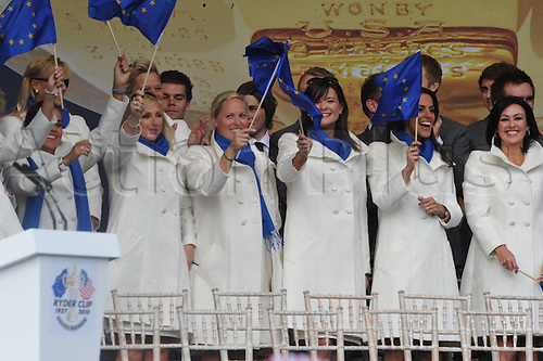 30.09.2010  Wives and girlfiends of the European team at the opening ceremony at the Ryder Cup 2010 course, Celtic Manor resort, Newport, Wales on the third practice day of  the Ryder Cup 2010 between Europe v USA