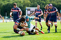 Morgan Eames of Doncaster Knights scores a try in the first half. Pre-season friendly match, between Doncaster Knights and Newcastle Falcons on August 25, 2018 at Castle Park in Doncaster, England. Photo by: Patrick Khachfe / Onside Images