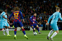 5th November 2019; Camp Nou, Barcelona, Catalonia, Spain; UEFA Champions League Football, Barcelona versus Slavia Prague;  Leo Messi plays the ball into team mate Griezmann - Editorial Use
