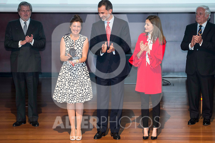Sara Baras, King Felipe VI of Spain and Queen Letizia during the delivery of the accreditations to the new ambassadors of the Marca España 2017 at Reina Sofia Museum in Madrid. March 14, 2017. (ALTERPHOTOS/Borja B.Hojas)