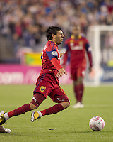 Tripped up Real Salt Lake midfielder Javier Morales (11). Real Salt Lake defeated the New England Revolution, 2-1, at Gillette Stadium on October 2, 2010.