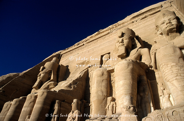 Four giant statues outside Ramses II Temple, Abu Simbel, Egypt.