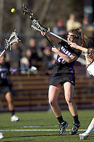 University at Albany attacker Jodi Battaglia (20) scores. University at Albany defeated Boston College, 11-10, at Newton Campus Field, on March 30, 2011.
