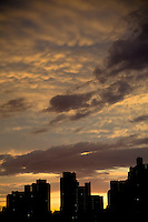 Sunset over the Upper East Side of Manhattan in New York City.