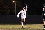 24 November 2013: Wake Forest's Ricky Greensfelder reacts to scoring a goal. The Wake Forest University Demon Deacons played the Naval Academy Midshipmen at Spry Stadium in Winston-Salem, NC in a 2013 NCAA Division I Men's Soccer Tournament Second Round match. Wake Forest won the game 2-1.