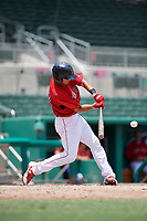 GCL Red Sox first baseman Keibert Petit (71) swings at a pitch during a game against the GCL Orioles on August 9, 2018 at JetBlue Park in Fort Myers, Florida.  GCL Red Sox defeated GCL Orioles 10-4.  (Mike Janes/Four Seam Images)