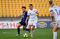Ferns&rsquo; Amber Hearn and Japan&rsquo;s Shiori Miyake in action during the  International Football - Football Ferns v Japan  at Westpac Stadium, Wellington, New Zealand on Sunday 10 June 2018.<br /> Photo by Masanori Udagawa. <br /> www.photowellington.photoshelter.com