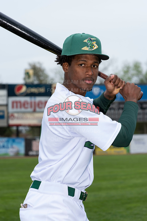 Beloit Snappers infielder Marcos Brito (6) poses for a photo before a Midwest League game against the Lake County Captains at Harry C. Pohlman Field on May 8, 2019 in Beloit, Wisconsin. (Zachary Lucy/Four Seam Images)