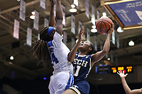 DURHAM, NC - JANUARY 26: Kierra Smith #41 of Georgia Tech is defended by Onome Akinbode-James #24 of Duke University during a game between Georgia Tech and Duke at Cameron Indoor Stadium on January 26, 2020 in Durham, North Carolina.