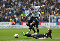 Leeds United's Luke Ayling competing with Bolton Wanderers' Gary Madine <br /> <br /> Photographer Andrew Kearns/CameraSport<br /> <br /> The EFL Sky Bet Championship - Bolton Wanderers v Leeds United - Sunday 6th August 2017 - Macron Stadium - Bolton<br /> <br /> World Copyright &copy; 2017 CameraSport. All rights reserved. 43 Linden Ave. Countesthorpe. Leicester. England. LE8 5PG - Tel: +44 (0) 116 277 4147 - admin@camerasport.com - www.camerasport.com