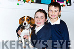 Rian and Laoise Foley with Pixieat the bring your pet to school day in Fybough NS Castlemaine on Friday