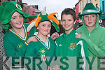 Green Scene: Shauna and Erin Mulvihill, Athea, Liam O'Connor, Kilmorna and .Catherine McEnery, Athea enjoying the fun of the Listowel St Patrick's Day .parade on Sunday.   Copyright Kerry's Eye 2008