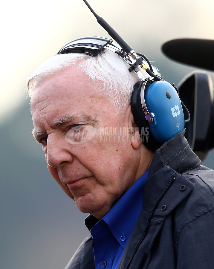 Feb 9, 2014; Pomona, CA, USA; NHRA ESPN announcer Gary Gerould during the Winternationals at Auto Club Raceway at Pomona. Mandatory Credit: Mark J. Rebilas-