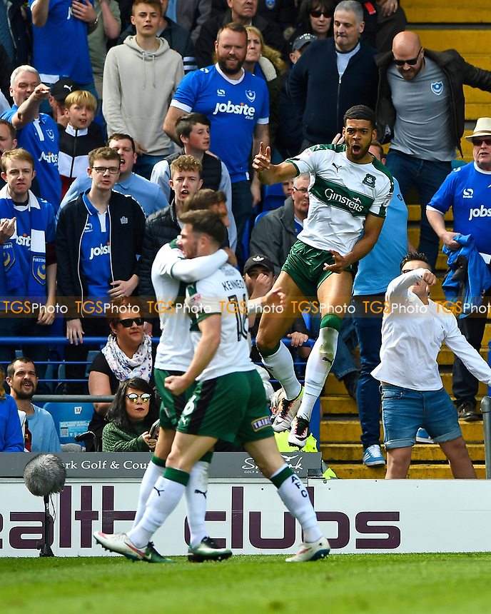 Jake Jervis of Plymouth Argyle in air celebrates his goal during Portsmouth vs Plymouth Argyle, Sky Bet EFL League 2 Football at Fratton Park on 14th April 2017