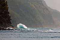 Large wave off Napali coast, Kauai, Hawaii.