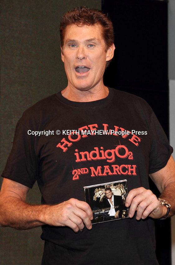 London - David Hasselhoff signs his new album 'This Time Around' at HMV Oxford Street, London - February 27th 2012..Photo by Keith Mayhew.